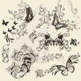 Reeks filigraanvlinders met ornament voor ontwerp Stock Afbeelding