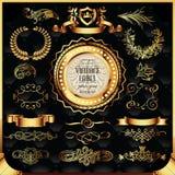 Vector reeks gouden etiketten Royalty-vrije Stock Afbeeldingen