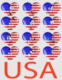 Vector Reeks harten met een vlag de V.S. en personen Royalty-vrije Stock Afbeeldingen