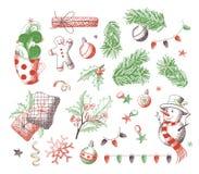 Vector reeks het ontwerpelementen van Kerstmis stock illustratie