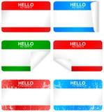 Vector reeks lege zelfklevende naamkentekens. stock illustratie