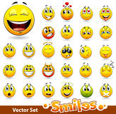 Vector reeks leuke glimlach-ballen Royalty-vrije Stock Foto's