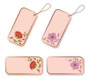 Vector reeks markeringen en stickers met bloemen. Royalty-vrije Stock Afbeelding