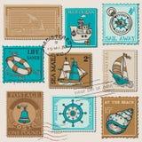 Vector Reeks Retro OVERZEESE Postzegels Stock Foto
