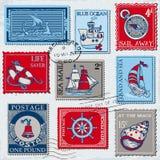 Vector Reeks Retro OVERZEESE Postzegels Stock Afbeeldingen