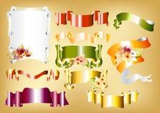 Vector reeks rolbanners voor ontwerp Stock Afbeelding