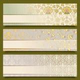 De uitstekende reeks van het het patroonontwerp van bloembanners retro Royalty-vrije Stock Afbeeldingen