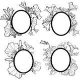 Vector reeks uitstekende frames met bloemen - orchidee vector illustratie