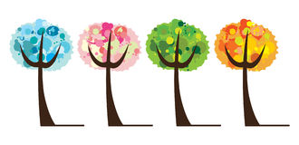 Vector reeks van boom 4 seizoen Stock Illustratie
