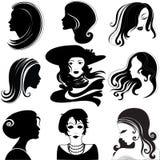 Vector reeks van close-upportret van mooie vrouw Stock Afbeeldingen