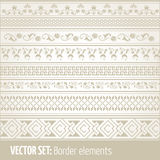 Vector reeks van grenselementen en paginadecoratie Royalty-vrije Stock Foto's