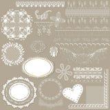 Inzameling van vector filigraan wit kant voor ontwerp Stock Afbeelding