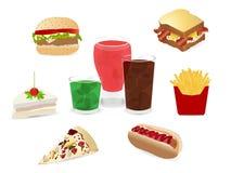 Vector Reeks van kleurrijk beeldverhaal snel voedsel Stock Afbeeldingen