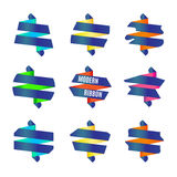 Vector: Reeks van Modern abstract lintenkenteken Stock Fotografie