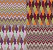 Vector reeks van vier argyle en chevronpatronen Royalty-vrije Stock Afbeelding