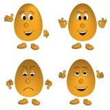 Vector reeks van vier eieren (smiley) Royalty-vrije Stock Foto's