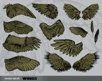 Vector reeks Vleugels stock illustratie