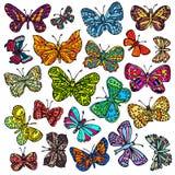 Vector reeks vlinders Hand-drawn overladen vlinders isoleren Stock Foto