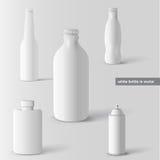 Vector reeks witte flessen Royalty-vrije Stock Afbeelding