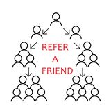 Vector Refer a friend icon in linear style. Infographic element. Refer a friend concept media for the landing page, template, UI, stock illustration