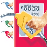 Vector refueling hose and gas station counters. Vector hand, refueling hose in four colors and gas station counters Royalty Free Stock Images