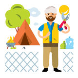Vector Refugee Camp. Illegal migration. Flat style colorful Cartoon illustration. Migrant overcomes the fence of metal mesh.  on a white background Royalty Free Stock Photo