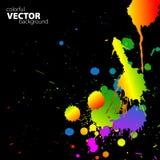 Vector regenboogachtergrond met splats Stock Fotografie