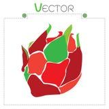 Vector reife exotische Drachefrucht der Illustrations-Ikone mit Scheibe Stockfotografie