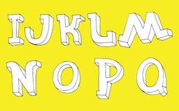 Vector Reihenfolge der Buchstaben 3d von I zu Q gezeichneter unvollständiger Art in der Hand Typografieschriftart gut für Zitate  Stockbilder