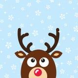 Vector Reindeer Christmas Card with snow backgroun Stock Photo