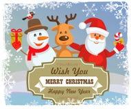 Vector reindeer, snowman, santa claus Stock Photo