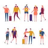 Vector reizende de mensenpictogrammen van het reizigersbeeldverhaal vector illustratie