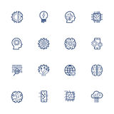 Vector relacionado de la inteligencia artificial: Icono AI, robot, el saltar, fijando Movimiento Editable Fotos de archivo libres de regalías