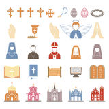 Vector religion icons set. Vector christian religion icons set. Religion icons god cross catholicism religious vector icon. Set peace bible religion icons prayer Royalty Free Stock Photo