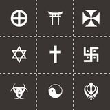 Vector religious symbols icon set Stock Photo