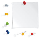 Vector reminder with pins set. Vector white reminder notes with pins set Stock Photo