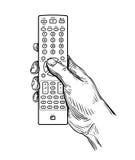 Vector remote control in hand Stock Photos