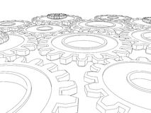 Vector render of cogs/ gears integrating Royalty Free Stock Photos