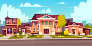 Vector rental of house, estate. Cottage rent stock illustration