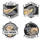 Vector repair labels isolated. In vintage style. Hand with wrench, hammer, pliers and sledgehammer Stock Images