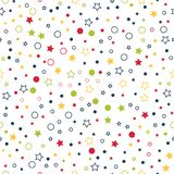 Seamless vector pattern with multicolor stars, circles and dots on white background royalty free illustration
