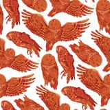 Vector repeated seamless pattern of forest owls. Drawn with rough brush in contrast colors vector illustration