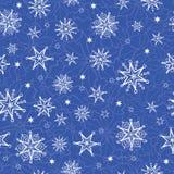 Vector a repetição tirada dos flocos de neve dos christmass do feriado mão azul Fotografia de Stock