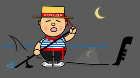 Kiki gondolier Venecia Night Stock Image