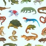 Vector reptiel dierlijk het wild wild kameleon van de aardhagedis, slang, schildpad, geïsoleerde krokodilillustratie van reptilia royalty-vrije illustratie