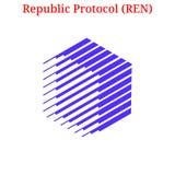 Vector Republic Protocol REN logo. Vector Republic Protocol REN digital cryptocurrency logo. Republic Protocol REN icon. Vector illustration isolated on white Stock Photo