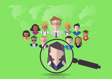 Vector research people for business teams worker with vector world map.Flat design Stock Photos