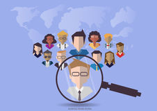 Vector research people for business teams worker with vector world map.Flat design Royalty Free Stock Images