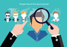 Vector research people for business teams worker with vector world map.Flat design Stock Photography