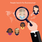 Vector research people for business teams worker with vector world map.Flat design Royalty Free Stock Photos